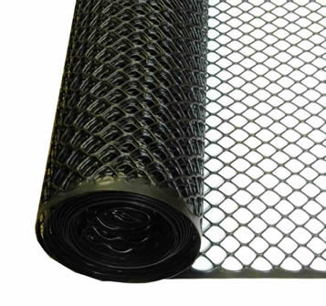 A roll of dark green hexagonal poultry fence on the white background.