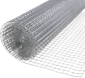 A roll of galvanized welded poultry netting on the white background.