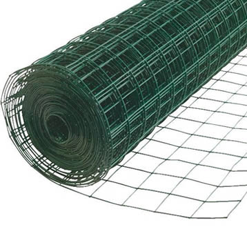 A roll of green PVC coating welded poultry netting on the white background.